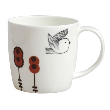 cog flowers and stripy bird